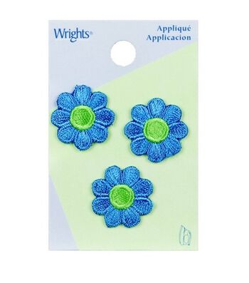 Wrights Iron-On Applique-Blue Flower/Green Center