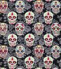 Novelty Cotton Fabric 43\u0022-Decorative Skulls On Black Floral