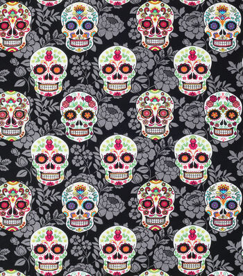 "Novelty Cotton Fabric 43""-Decorative Skulls On Black Floral"