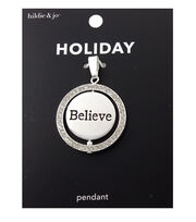 hildie & jo Holiday Pendant-Silver Believe, , hi-res