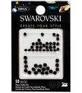 Swarovski Create Your Style 50 pk Framed Hotfix Crystals-Jet Silver