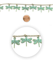 Blue Moon Bead Strands Patina Metal Dragonfly, , hi-res