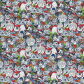 Novelty Cotton Fabric-Gray Cats on Tie Dye