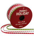 Maker\u0027s Holiday Ribbon 1/8\u0027\u0027x54\u0027-Red, White & Lime with Stitches