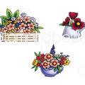 Stamping Bella 3 pk Rubber Cling Stamps-Little Bits Flower Pots