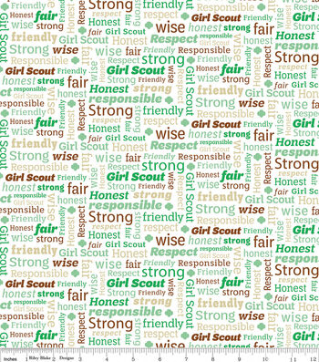 """Girl Scout Cotton Fabric 43""""-White & Green Text"""