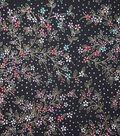 Premium Cotton Print Fabric 44\u0027\u0027-Metallic Dotted & Floral on Black