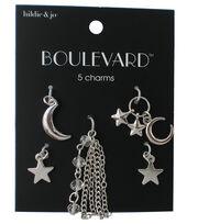 hildie & jo Boulevard 5 Pack Moon & Star Silver Charms, , hi-res