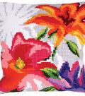 Stamped Needlepoint Cushion Kit 40X40cm-Stylish Flowers I