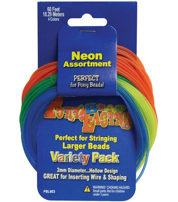 Pepperell Braiding Company Pony Bead Lacing 60' Variety Pack-Neon