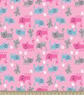 Happy Kitty and Mouse Print Fabric