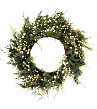Handmade Holiday Christmas 28'' Greenery & White Berry Wreath