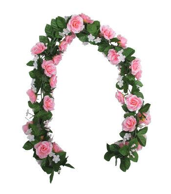 Fresh Picked Spring 66'' Pink Rose Chain Garland