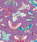 Asian Inspired Cotton Fabric 43\u0027\u0027-Metallic Flying Butterflies