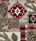 Snuggle Flannel Fabric -Red Aztec & Lodge Patch