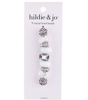 hildie & jo Mix & Mingle Metal Lined Glass Beads-White