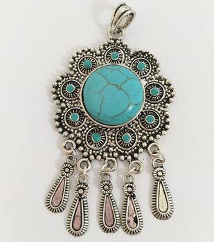 hildie & jo Metal Pendant-Turquoise