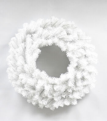Blooming Holiday Christmas 24'' PVC Pine Wreath-White