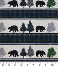 Snuggle Flannel Fabric 42\u0027\u0027-Black Bear & Black Watch Stripes