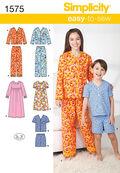 Simplicity Pattern 1575K5 Children\u0027s Loungewear-Size 7-8-10-12