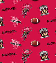 Ohio State University Buckeyes Cotton Fabric 43''-Red, , hi-res