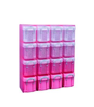 Really Useful Box 4.73 fl. oz. 16 Box Organizer-Clear & Pink