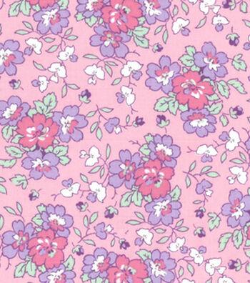 1930's Premium Cotton Print Fabric 43''-Floral Garden on Pink