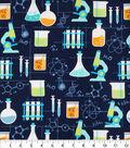 Novelty Cotton Fabric -Chemistry Lab On Navy