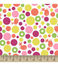 Snuggle Flannel Fabric 42\u0022-Birds & Bubbles Pink