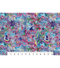 Modern Premium Cotton Print Fabric 43\u0027\u0027-Blue & Metallic Oil Slick