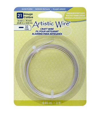 Artistic Wire 0.2''x3'-Silver-Plated