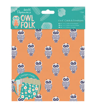 Papermania Owl Folk 12ct 6''x6'' Cards With Envelopes