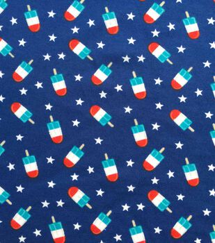 Doodles Interlock Knit Fabric 57''-Patriotic Popsicles