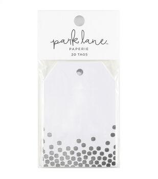 Park Lane 20 pk Tags-Silver Confetti