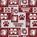 Mississippi State University Bulldogs Fleece Fabric -Allover Block