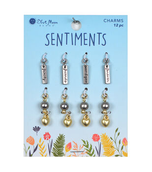 Blue Moon Beads Sentiments 12 pk Charms-Forever