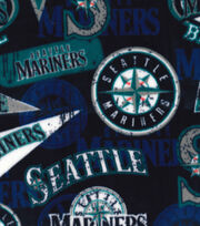 2 Yard Pre-Cut Seattle Mariners Fleece Fabric Remnant-Vintage, , hi-res