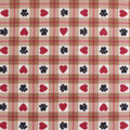 Blizzard Fleece Fabric-Heart Paw Tan Plaid