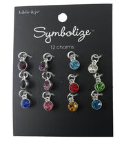 hildie & jo Symbolize 12 Pack Mini Round Silver Birthstone Charms, , hi-res