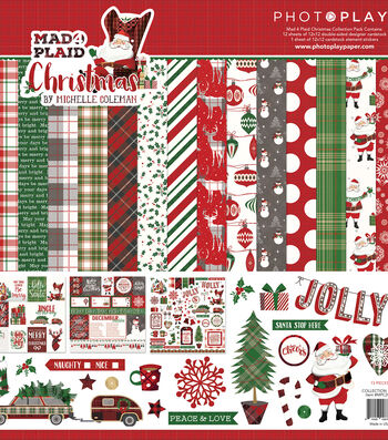 Photo Play Paper Mad 4 Plaid Christmas 12''x12'' Collection Pack
