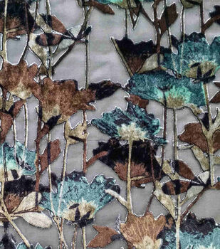 Silky Velvet Burnout Fabric-Teal Thistle