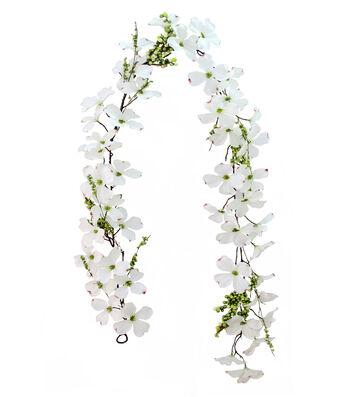 Fresh Picked Spring 66'' Dogwood Garland-White