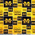University of Michigan Wolverines Cotton Fabric -Block