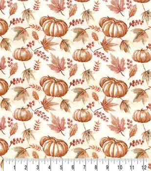 Harvest Cotton Fabric-Watercolor Pumpkins & Berries