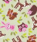 Snuggle Flannel Fabric 42\u0022-Pink Critter Toss