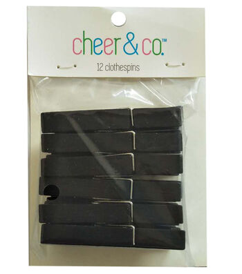Cheer & Co. 12 pk Medium Clothespins-Black
