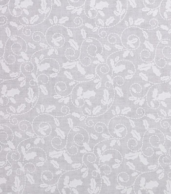 Christmas Cotton Fabric 43''-Holly Leaves on White