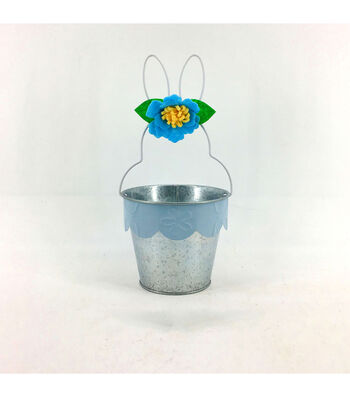 Easter Decor Metal Bunny Basket-Blue