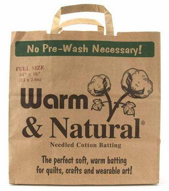"The Warm Company Warm & Natural Cotton Batting -Full Size 84""X96"""