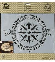 """Folkart 12""""x12"""" Stencil-Compass, , hi-res"""